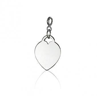 Rhodié hart Zilveren hanger met veer ring