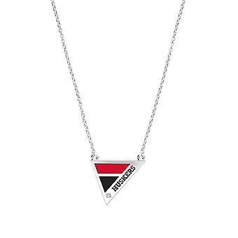 University Of Nebraska Engraved Sterling Silver Diamond Geometric Necklace In Red and Black