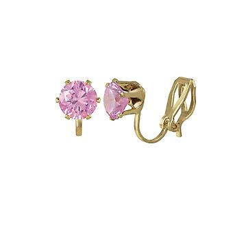 Eternal Collection Tara Light Pink Crystal Gold Tone Stud Clip On Earrings