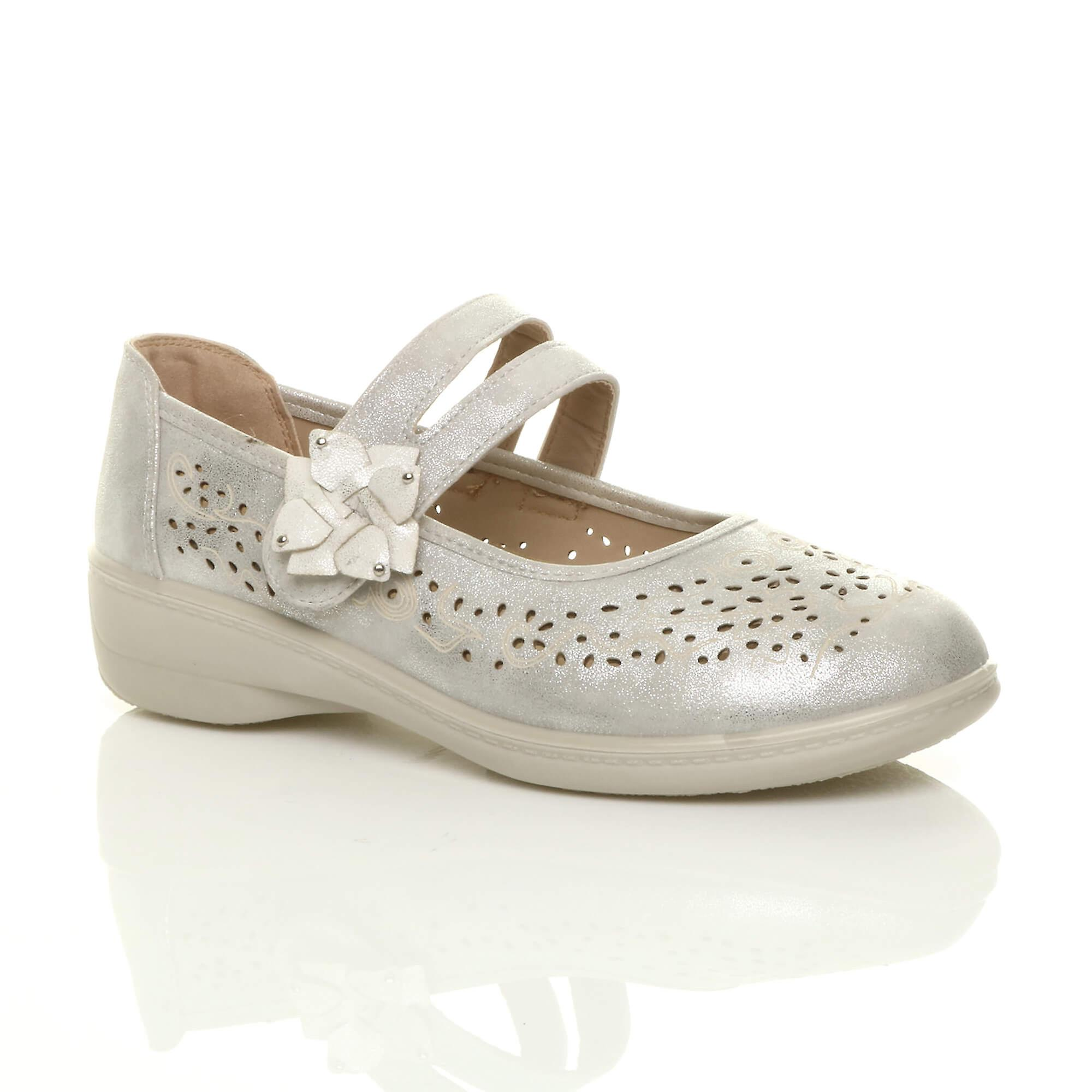 Ajvani womens flat grip sole padded cushioned mary jane hook & loop comfort shoes MXYwF