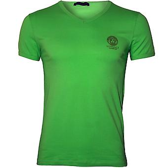 Versace Iconic V-Neck Stretch Cotton T-Shirt, Fluo Green