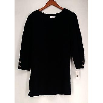 Charter Club Plus Sweater Pointelle Detailed Tunic Navy Blue Womens