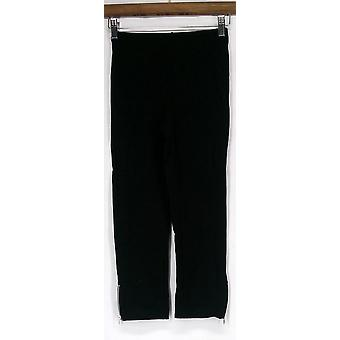 Slimming Options Crop Length w/ Side Zipper Black Leggings Womens
