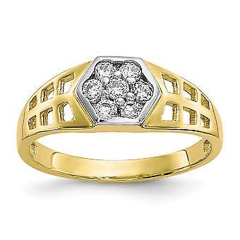 10k Gul guld poleret CZ Cubic Zirconia simuleret Diamant for drenge eller piger Ring