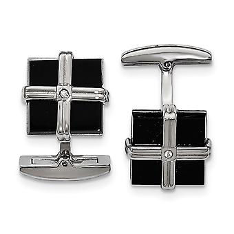 Stainless Steel Polished Black Ip CZ Cubic Zirconia Simulated Diamond Square Cuff Links Jewelry Gifts for Men