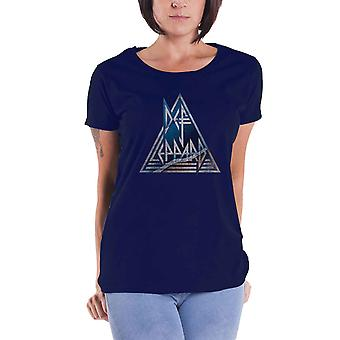 Def Leppard T Shirt Triangle band Logo Official Womens Skinny Fit Navy Blue