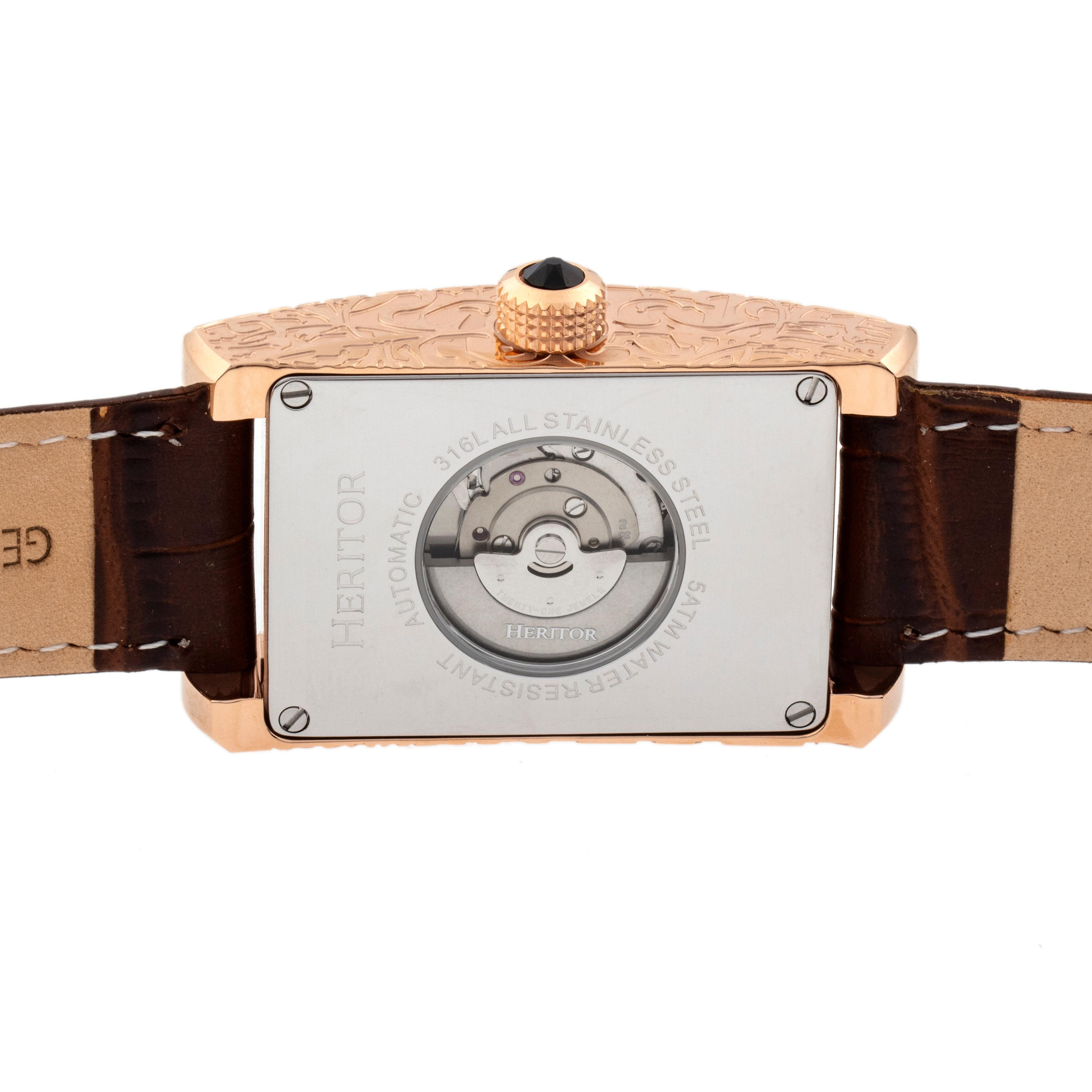 Heritor Automatic Jefferson Leather-Band Watch - Rose Gold/Black