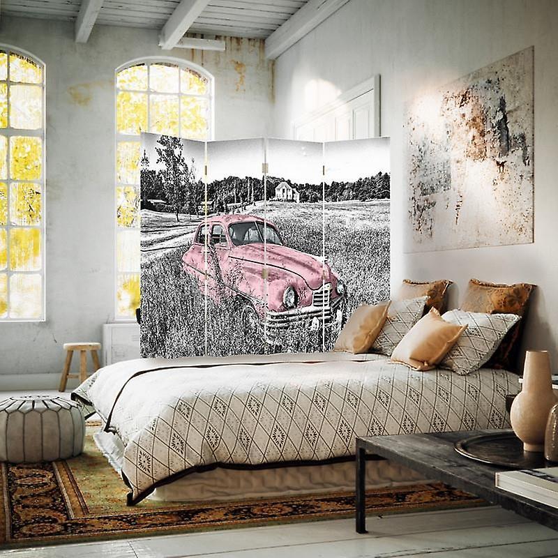 Diviseur de chambre, 4 panneaux, toile, voiture rose dans un champ