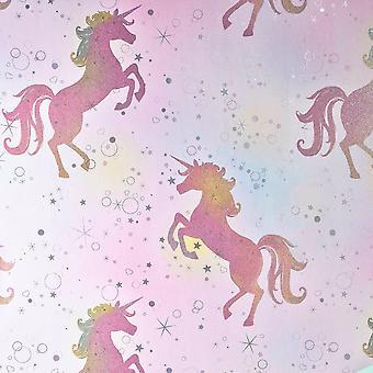 Be Dazzled Dancing Unicorn Wallpaper Rainbow Coloroll M1423