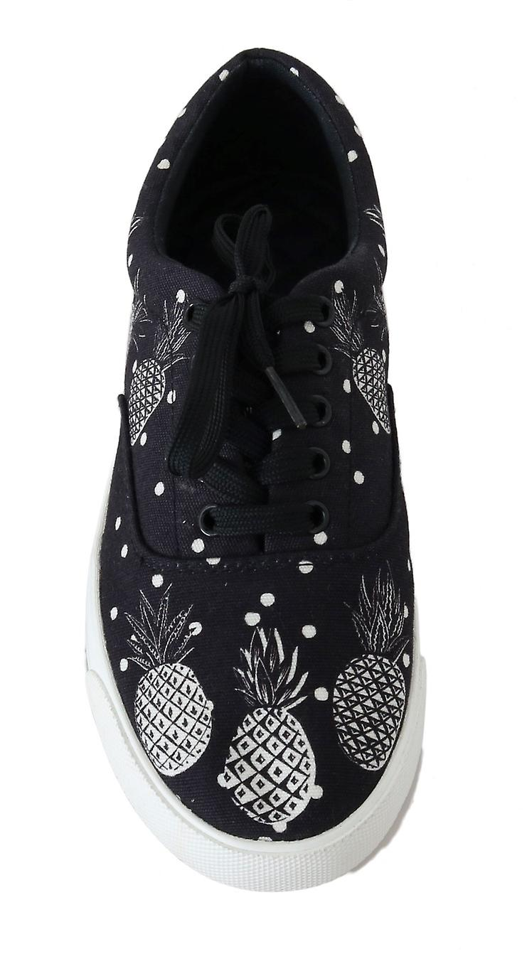 Black White Pineapple Canvas Sneakers