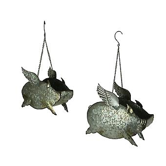 Distressed Galvanized Metal Flying Pig Hanging Planters Set of 2
