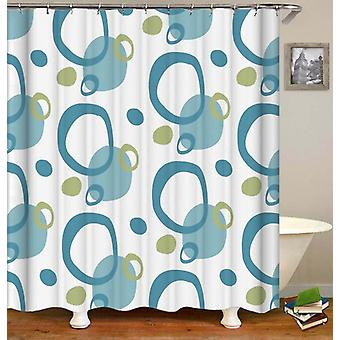 Green And Teal Rings Shower Curtain