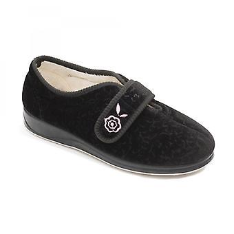Padders Camilla Ladies microsuede ekstra bred (2e) full slippers svart