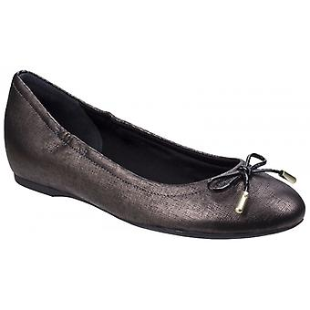 Rockport Tied Ladies Leather Ballerina Shoes Onyx
