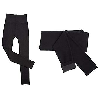 Active Club 2 pack kvinnor ' s Heavy Fleece-fodrad leggings, svart, storlek en storlek