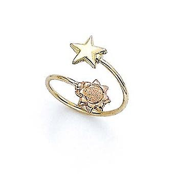 14k Two Tone Gold Star Sun Toe Ring Jewelry Gifts for Women - 1.0 Grams