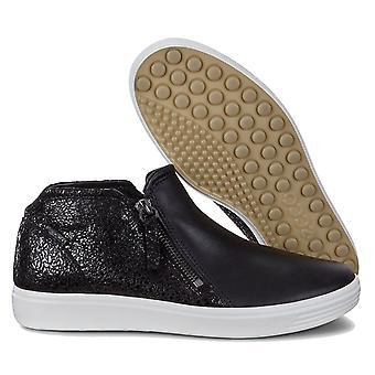 Ecco Womens Soft 7 Double Zip Low Bootie Sapatos casuais de couro confortáveis