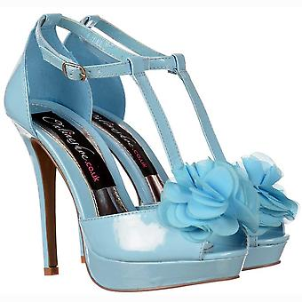 Onlineshoe T bar gluren teen stiletto-bloem detail-blauwe pastel