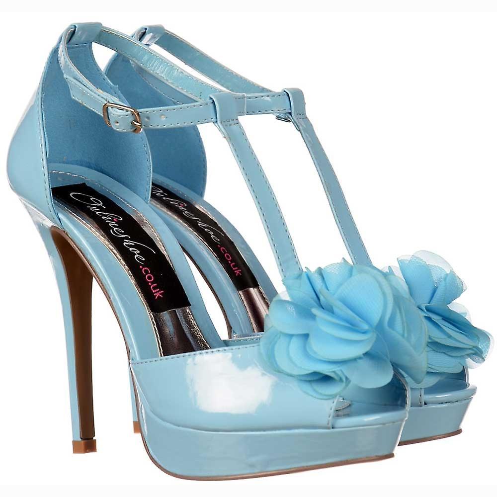 Onlineshoe T Bar Peep Toe Stiletto - Flower Detail - Blue Pastel