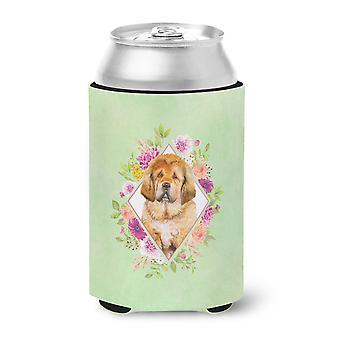 Tibetian Mastiff Puppy Green Flowers Can or Bottle Hugger