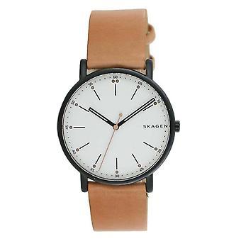 Skagen reloj de hombre reloj de pulsera signature cuero marrón SKW6352