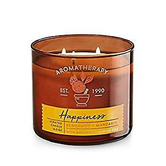Bath & Body Works Happiness Bergamot & Mandarin 3 Wick Scented Candle 14.5 oz / 411 g