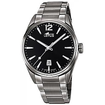 Lotus klocka L18684-3-stål Dateur grå svart urtavla män