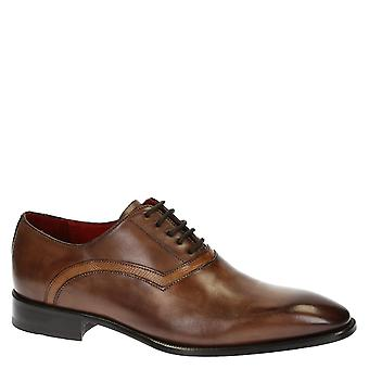 Leonardo Shoes Men-apos;s main classe dentelles oxfords chaussures en cuir de brandy