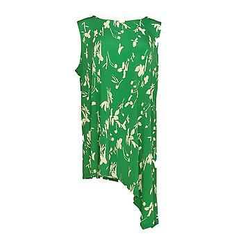 Alfani Women's Plus Top Printed Sleeveless Asymetrical Hem Green