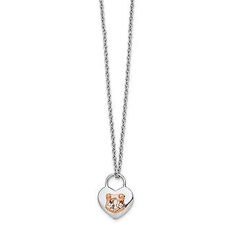 925 Sterling Silver White Ice Diamond Rose 14k Gold Plated Love Heart Lock With 2in Ext Necklace Jewelry Gifts for Women