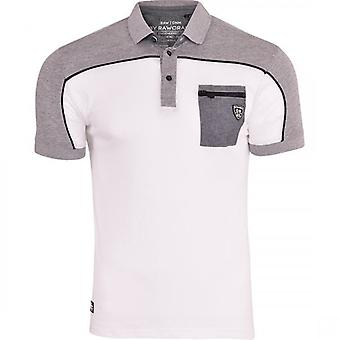 Rawcraft Mens Rawcraft Polo T Shirt 3 Button Collared Short Sleeve Smart Casual Top Zip Chest Pocket