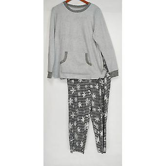Cuddl Duds Women's Pajama Set Fleecewear Stretch Novelty Gray A371296