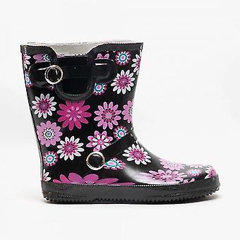 Stormwells Selah Ladies Floral Wellington Boots Black/fuchsia