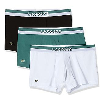 Lacoste Cotton Stretch 3 Pack Boxer Trunk, Idaho Green / White / Black, X-Large