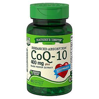 Nature's truth coq-10, 400 mg, mais extrato de pimenta preta, softgels, 40 ea
