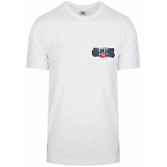 C.P. Company C.P. Company White Small Print Logo T-Shirt