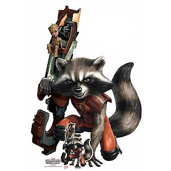 Rocket Raccoon en Baby Groot Officiële Marvel Kartonnen Cutout / Standee
