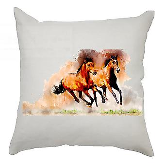 Watercolour Cushion Cover 40cm x 40cm Horses