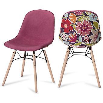 Furnhouse Sun Dining Chair, Pink/Violet, Black Legs, 47x57x84 cm, Set of 2