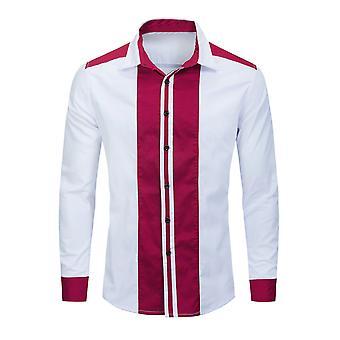 Allthemen Men's Long Sleeve Shirts Fashion Vertical Stripe Lapel Casual Shirt