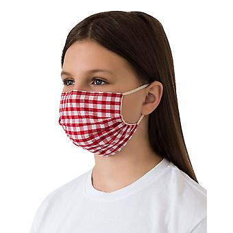 Mio WNS3 Gingham Red and White Check Cotton Face Mask with Removable Nose Wire