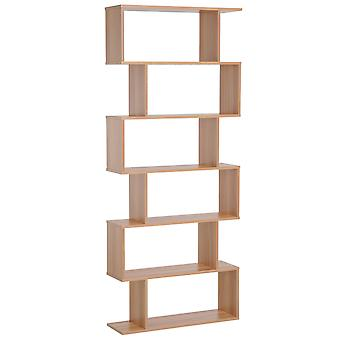 HOMCOM 6-Tier Wooden Storage Shelf S-Shaped Display Room Divider Unit Home Office Furniture Maple Colour