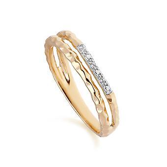 Diamant Pavé gehämmert Doppelband Ring in 9ct Gelbgold 191R0909019