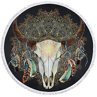 Dark Grey Bull Skull Beach håndkle