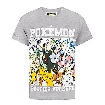 Pokemon Boys T-Shirt Besties Forever Children-apos;s Grey Short Sleeve Top