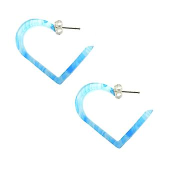 Aqua UV 24mm Heart Ear Hoop