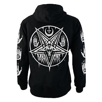 Darkside - pentagram baphomet - mens hooded zip-up sweater - black
