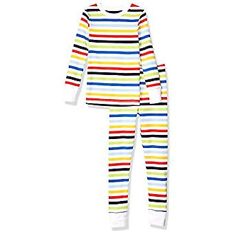 Essentials Kids Long-Sleeve Tight-Fit 2-Piece Pajama Set, Rainbow Stri...