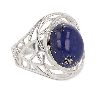 ADEN 925 Sterling Hopea Lapis Lazuli Rengas (id 3668)