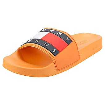 Tommy Jeans Flag Pool Womens Slide Sandals in Melon Orange